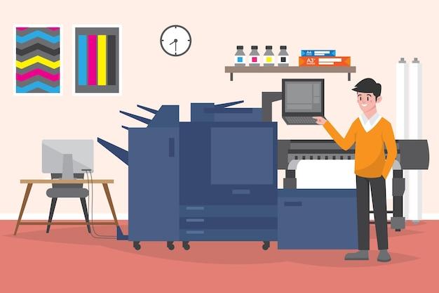 Ilustración de la industria de la impresión de diseño plano