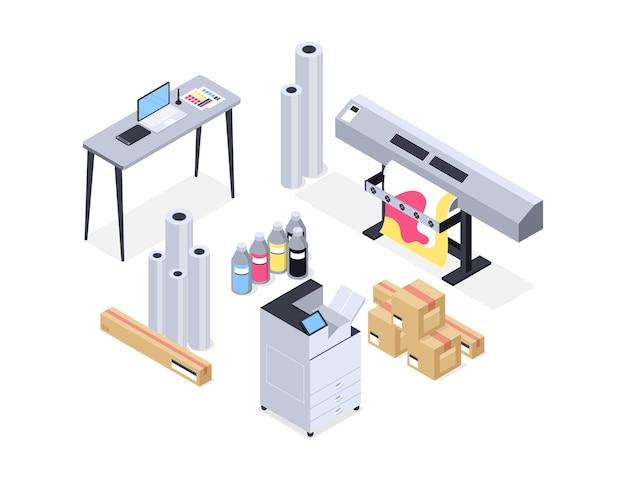 Ilustración de la industria de la impresión isométrica