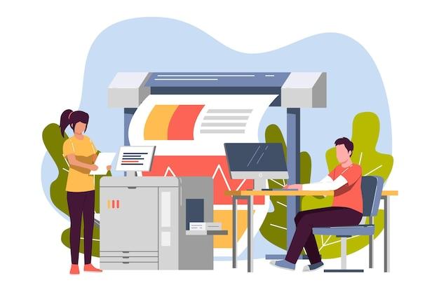 Ilustración de la industria de impresión orgánica