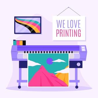 Ilustración de la industria de impresión plana