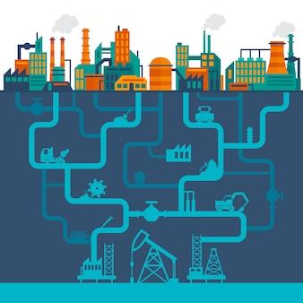 Ilustración de la industria plana