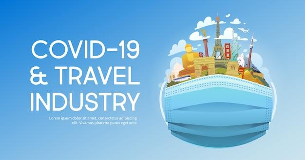 Ilustración de la industria de viajes y covid-19