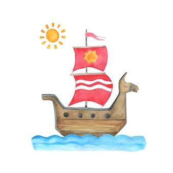 Ilustración infantil acuarela con barco.