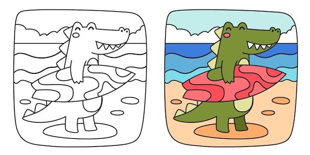 Ilustración infantil para colorear con cocodrilo