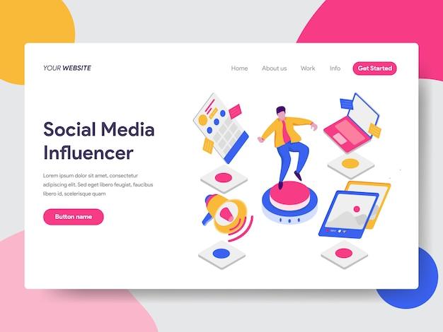 Ilustración influencer de medios sociales