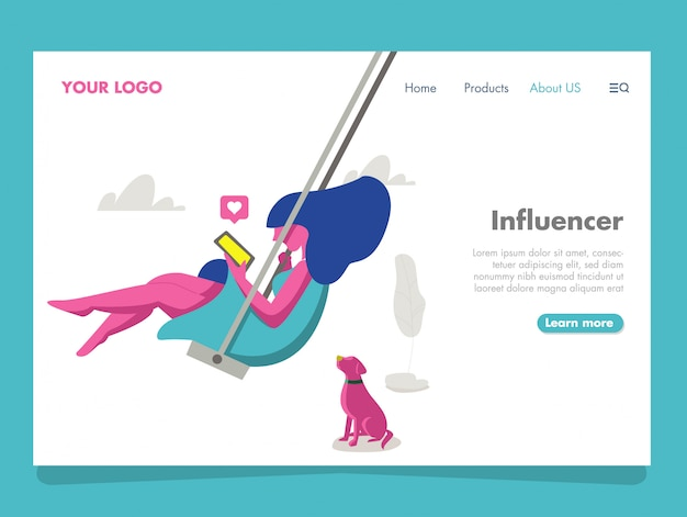 Ilustración influencer mujer para landing page