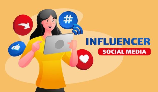Ilustración de influencers de redes sociales con mujer sosteniendo promoción de redes sociales de teléfonos inteligentes