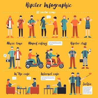 Ilustración infografía hipster