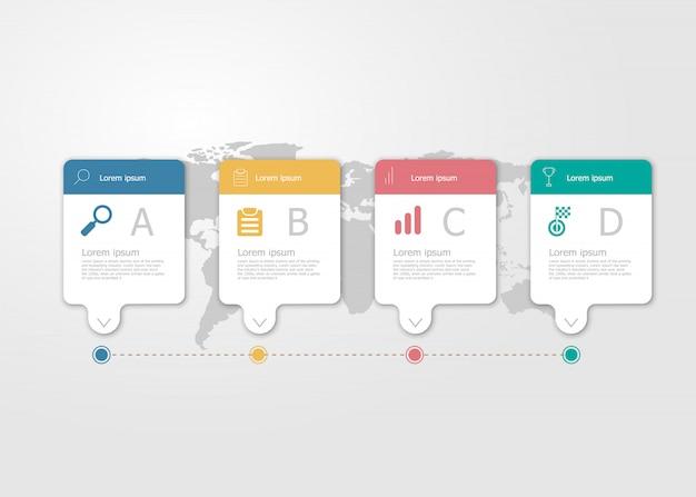 Ilustración de la infografía de la línea de tiempo horizontal 4 pasos para el fondo plano del vector de la presentación del negocio