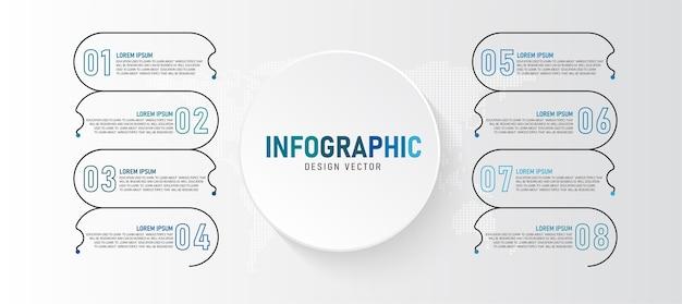 La ilustración de infografía se puede utilizar para presentaciones, procesos, diseños, banners, gráficos de datos