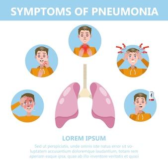 Ilustración de infografía de síntomas de neumonía. tos y dolor
