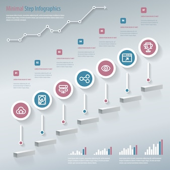 Ilustración de infografías de paso