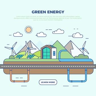 Ilustración infográfica de energía verde