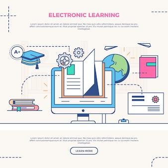 Ilustración infográfica de e learning