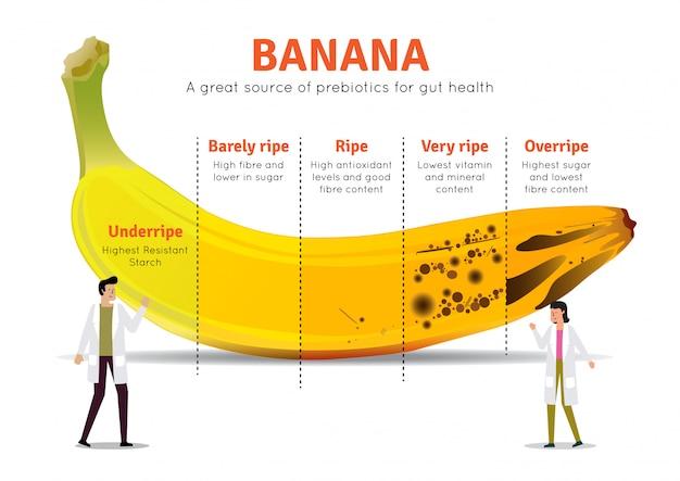 Ilustración de información nutricional del plátano