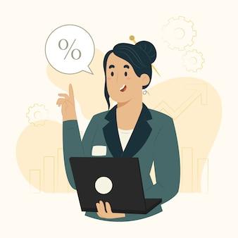 Ilustración de informe de estrategia y crecimiento empresarial de concepto de empresaria