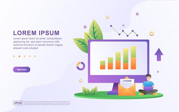 Ilustración de informes de ventas con iconos gráficos y de correo electrónico