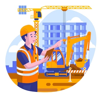 Ilustración de ingeniería y construcción