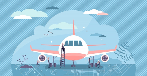 Ilustración de ingeniero aeroespacial. mantenimiento en concepto de personas pequeñas