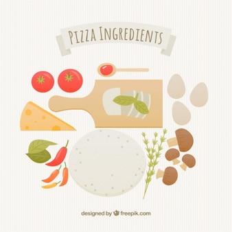 Ilustración de los ingredientes de una pizza