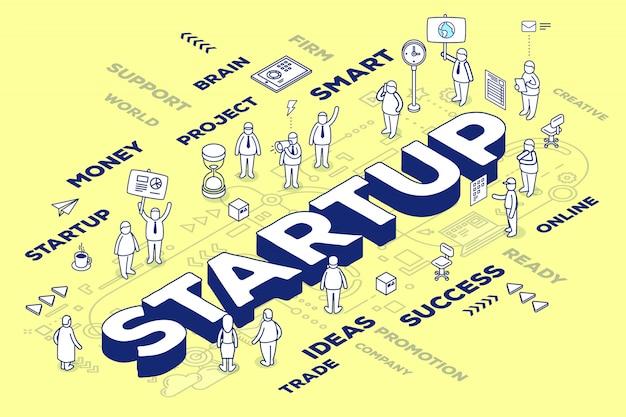 Ilustración de inicio de palabra de negocio tridimensional con personas y etiquetas sobre fondo amarillo con esquema.