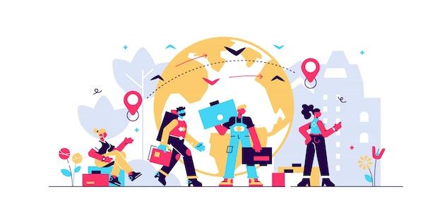Ilustración de inmigración
