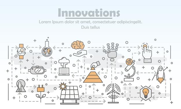 Ilustración de innovaciones de arte de línea delgada de vector