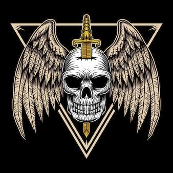 Ilustración de insignia de ala de cráneo
