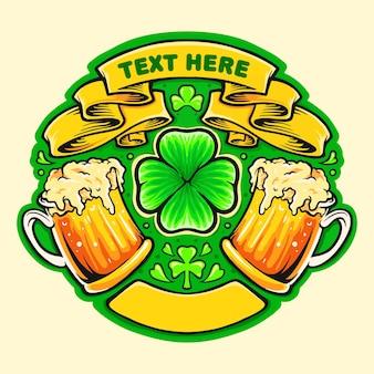 Ilustración de la insignia del día de san patricio de dos vasos de cerveza saludos