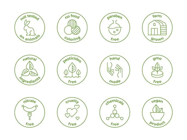 Ilustración de insignia de línea ecológica