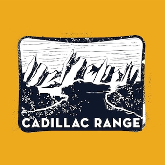Ilustración de insignia de sello de gama cadillac con diseño clásico vintage