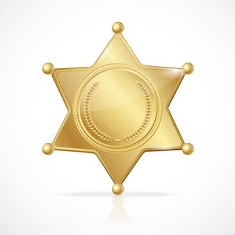 Ilustración insignia de sheriff dorado estrella vacía
