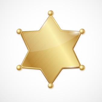 Ilustración insignia de sheriff de oro estrella en blanco