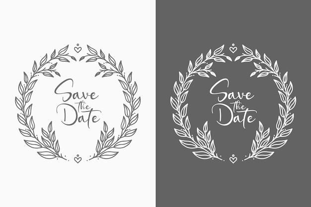 Ilustración de insignias de boda mínima encantadora y decorativa