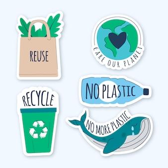 Ilustración de insignias de ecología dibujada a mano