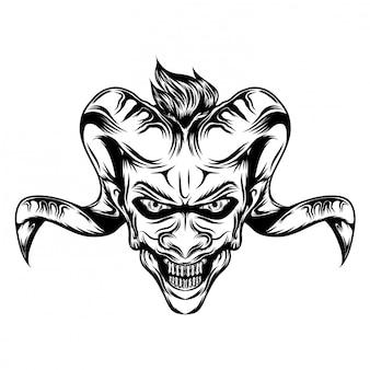 Ilustración de inspiración de demonios con cuernos de cabra.