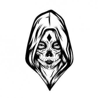 Ilustración de inspiración de un día de calavera muerta con capucha grande