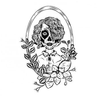 Ilustración de inspiración de un día de muertos, arte facial con pelo corto