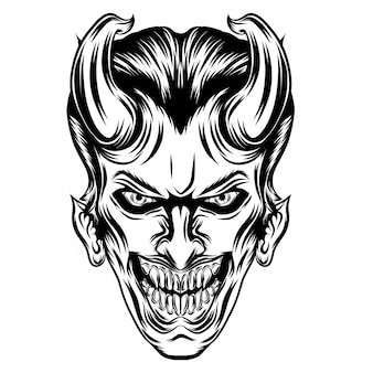 Ilustración de inspiración de inspiraciones joker con cuernos largos.