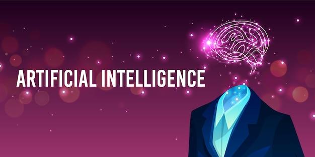 Ilustración de inteligencia artificial del cerebro humano en traje y mente digital.