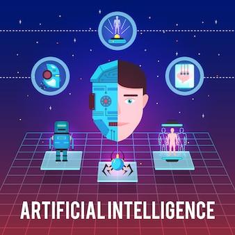 Ilustración de inteligencia artificial con iconos de alta tecnología y figuras robóticas de cara de cyborg sobre fondo estelar