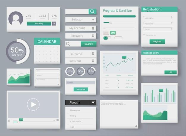 Ilustración de interfaz de plantilla de diseño de elementos web