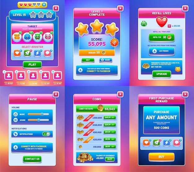 Ilustración de interfaz de usuario de juego móvil