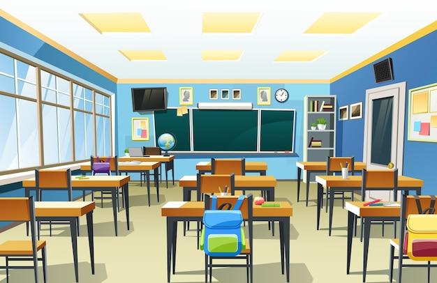 Ilustración del interior del aula de la escuela vacía