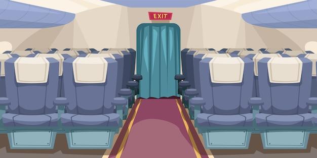 Ilustración del interior del avión vacío brillante con pasillo en el medio