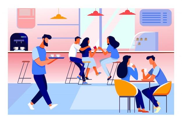 Ilustración interior de cafetería