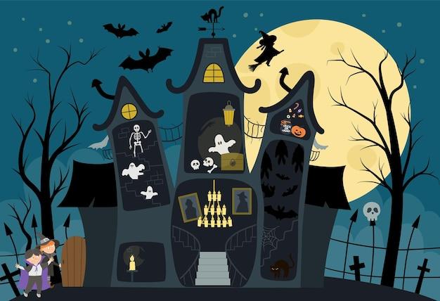 Ilustración interior de la casa embrujada de vector. fondo de halloween. escena de cabaña espeluznante con luna grande, fantasmas, murciélagos, niños sobre fondo azul oscuro. diseño de tarjeta o invitación de fiesta de samhain aterrador.