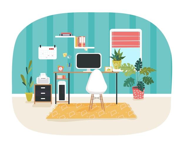 Ilustración del interior de la casa con el espacio de trabajo decorado con objetos de oficina, calendarios, libros, plantas de interior. mobiliario y formas modernas.