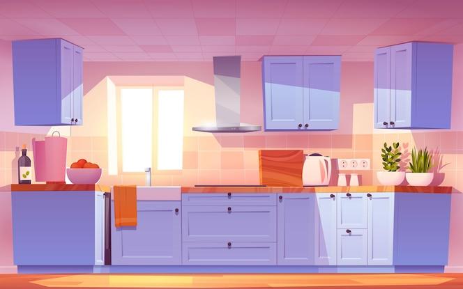 Ilustración interior de cocina de dibujos animados