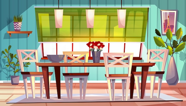 Ilustración interior del comedor de apartamento moderno o retro o terraza de verano.